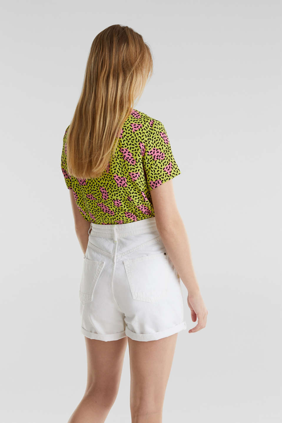 High-waisted denim shorts, WHITE, detail image number 3