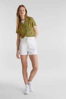 High-waisted denim shorts, WHITE, detail