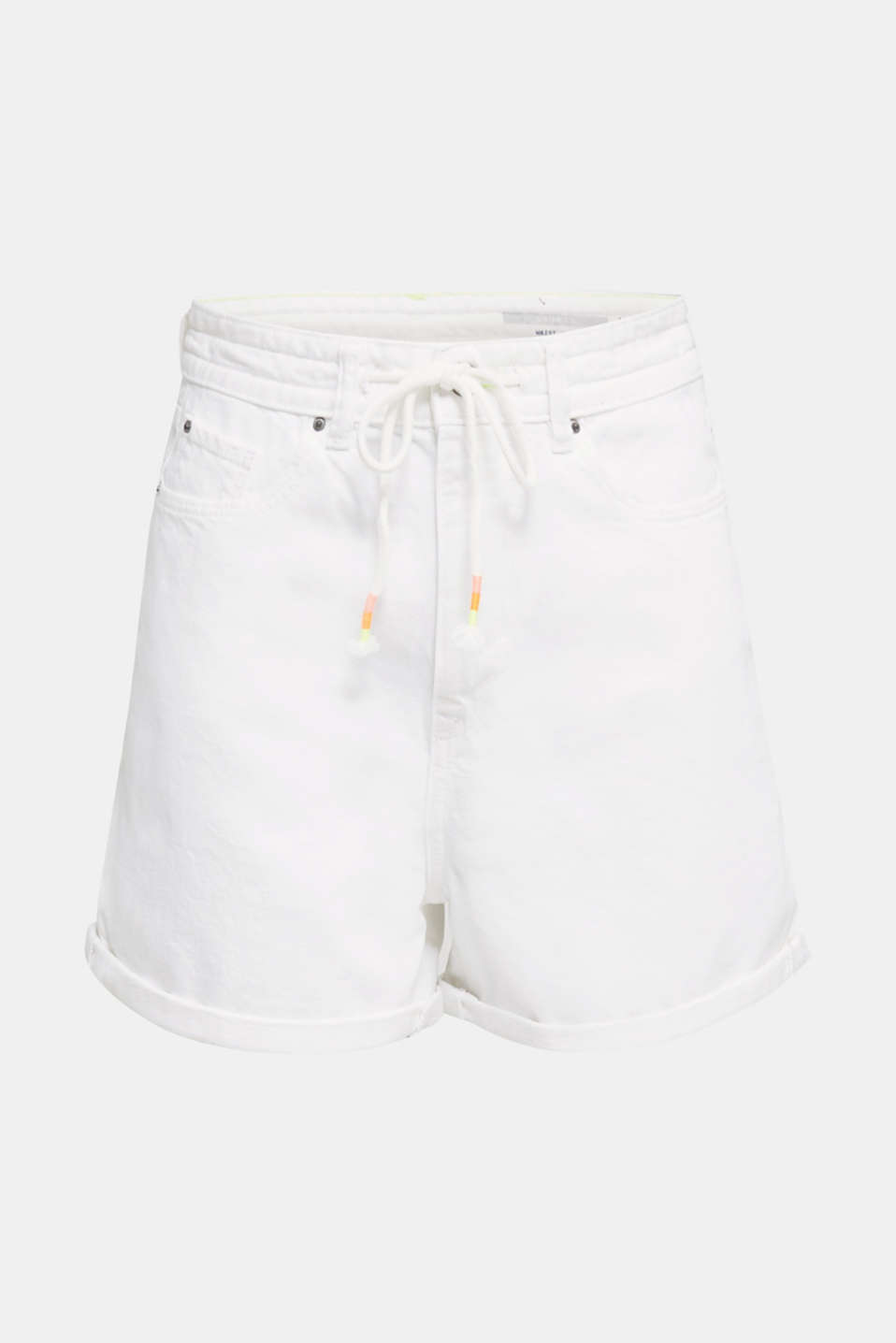 High-waisted denim shorts, WHITE, detail image number 8
