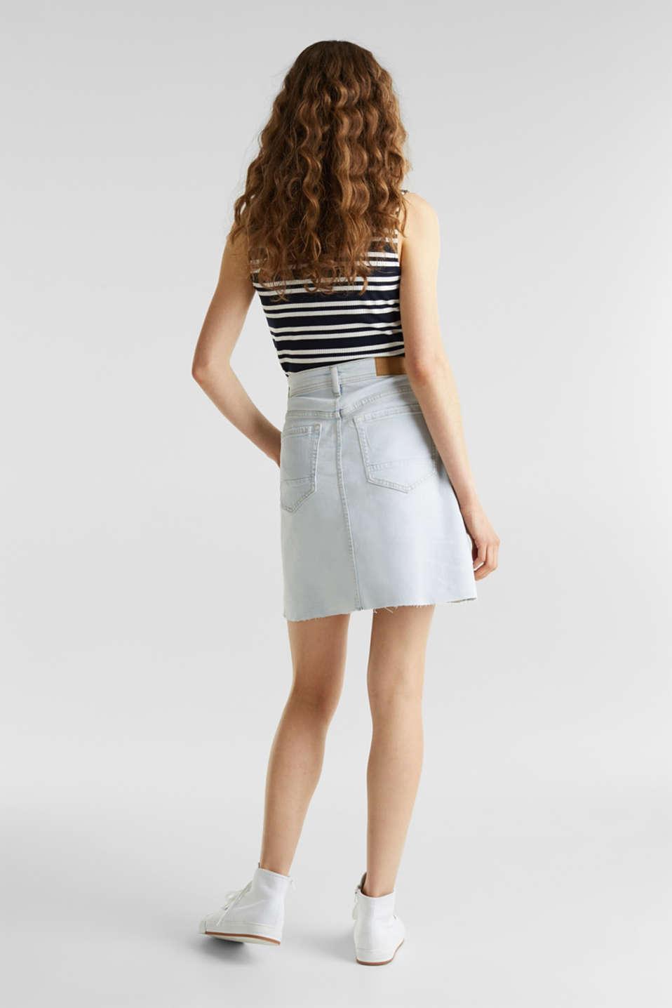 Denim skirt with a frayed hem, BLUE BLEACHED, detail image number 3