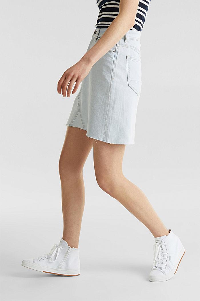 Denim skirt with a frayed hem, BLUE BLEACHED, detail image number 6