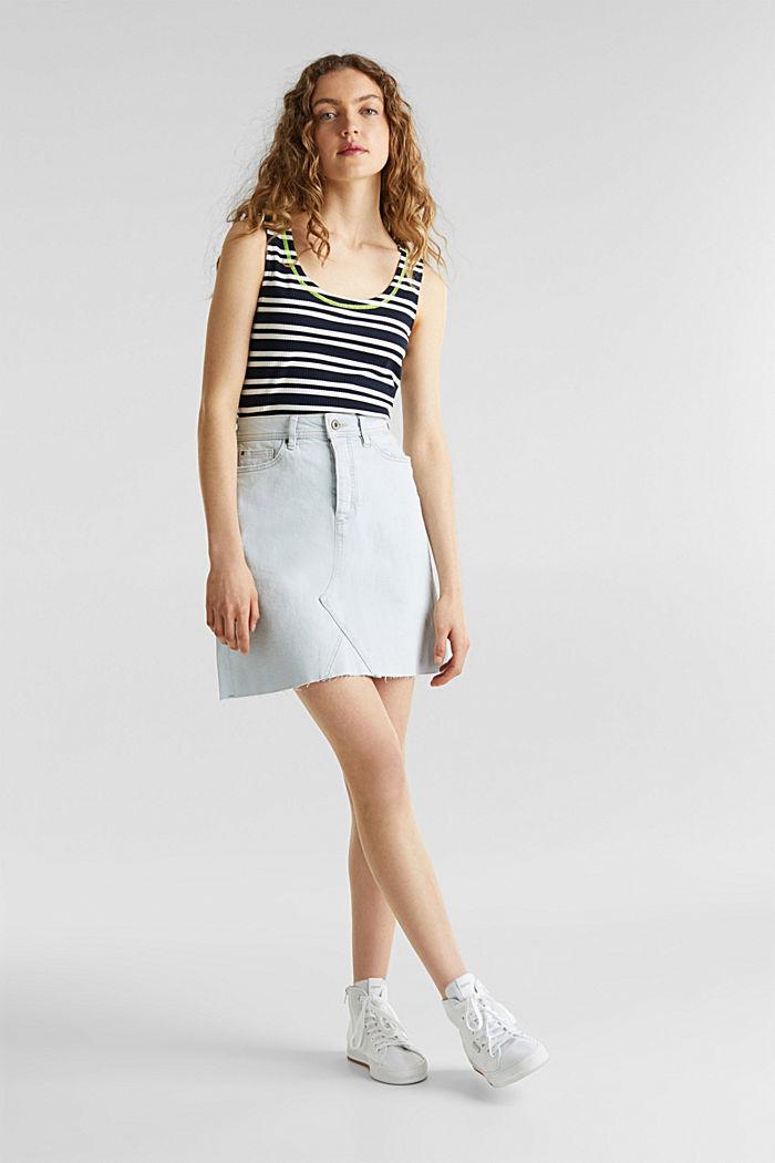 Denim skirt with a frayed hem, BLUE BLEACHED, detail image number 1