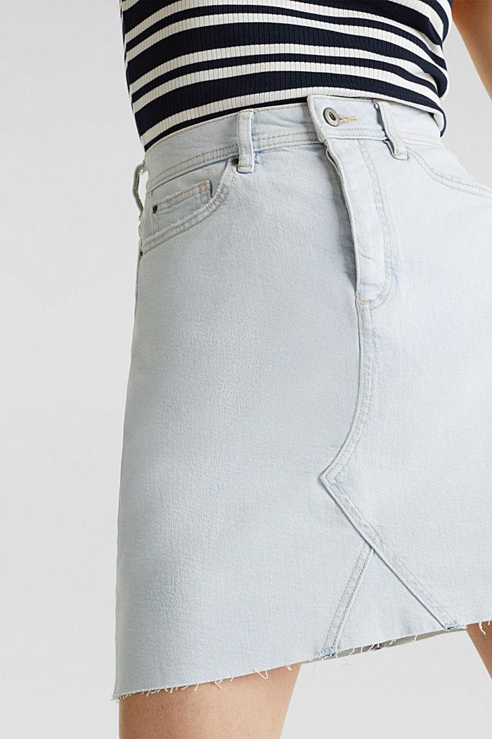 Denim skirt with a frayed hem, BLUE BLEACHED, detail image number 2
