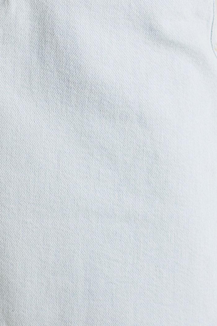 Denim skirt with a frayed hem, BLUE BLEACHED, detail image number 4