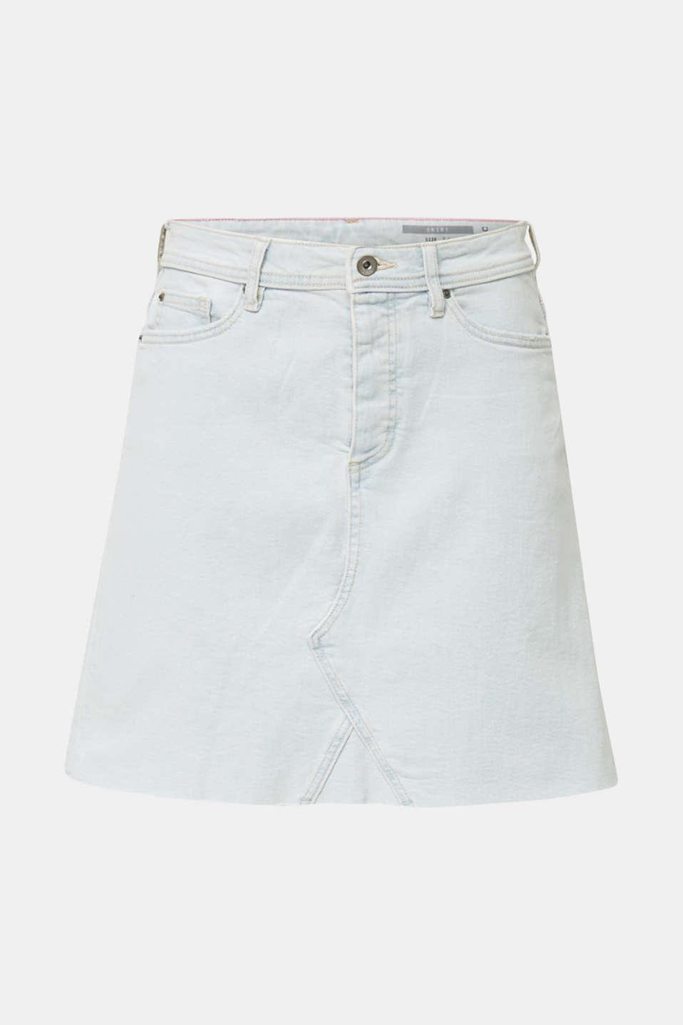 Denim skirt with a frayed hem, BLUE BLEACHED, detail image number 7