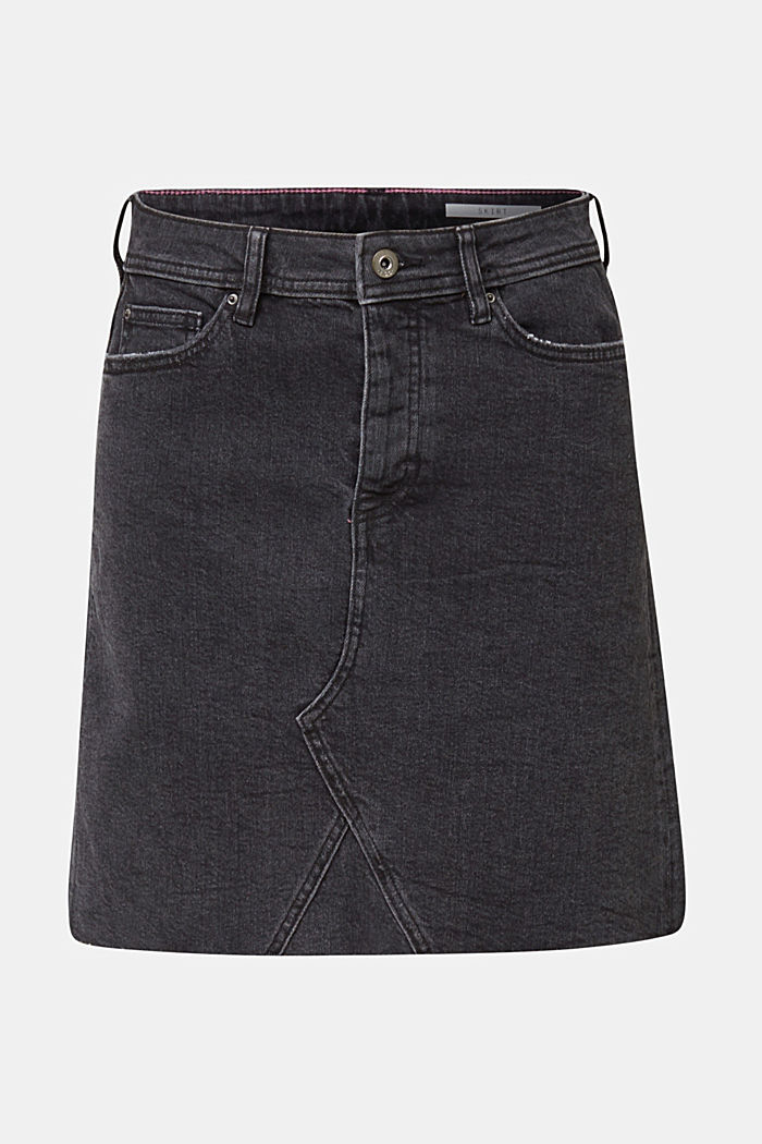 Denim skirt with a frayed hem, BLACK MEDIUM WASHED, detail image number 7
