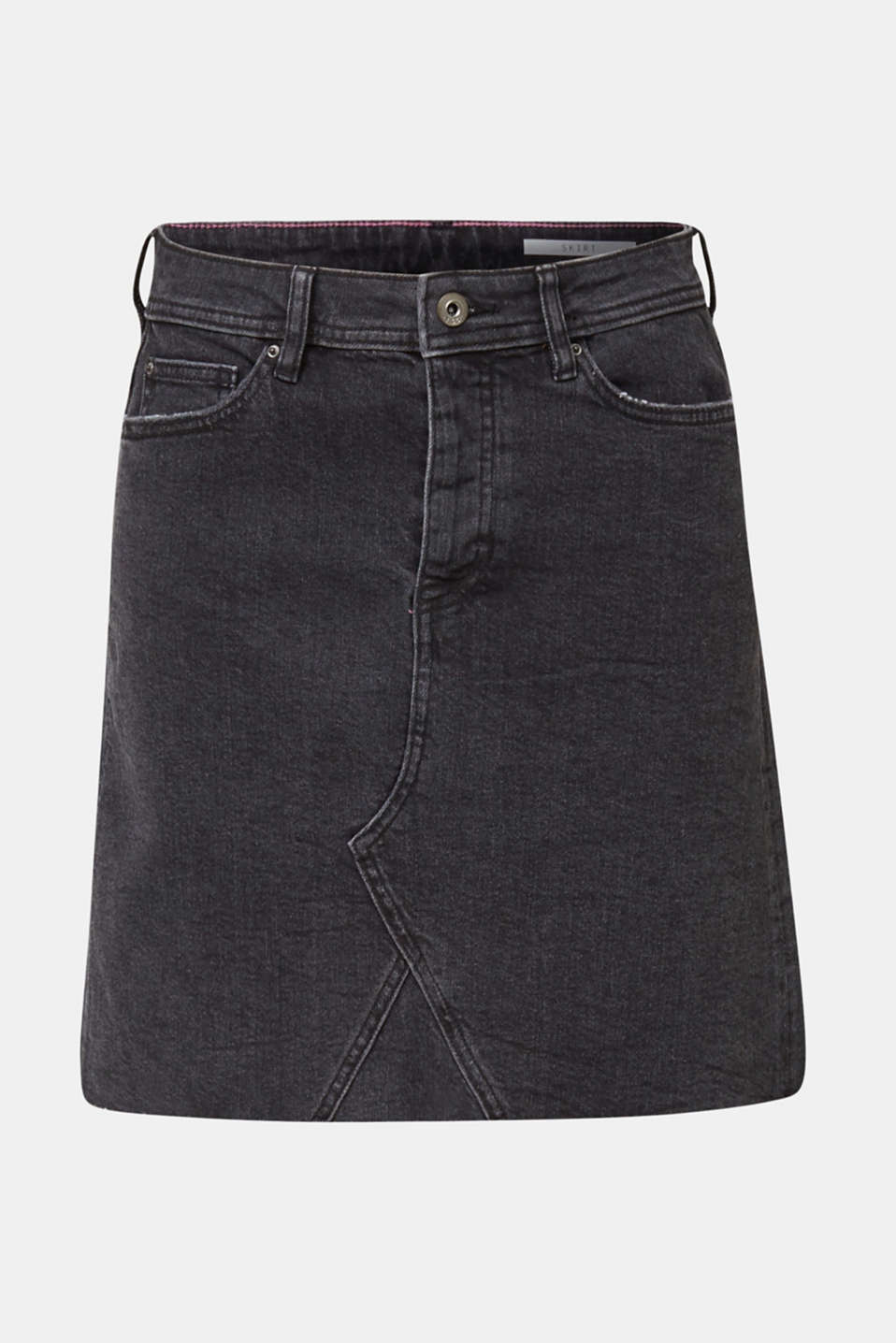 Denim skirt with a frayed hem, BLACK MEDIUM WASH, detail image number 7