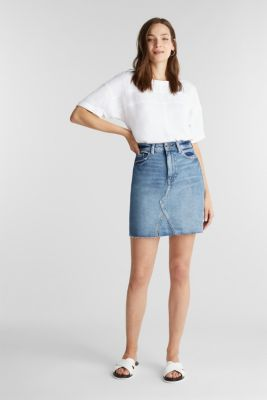 Denim skirt with organic cotton, BLUE MEDIUM WASH, detail