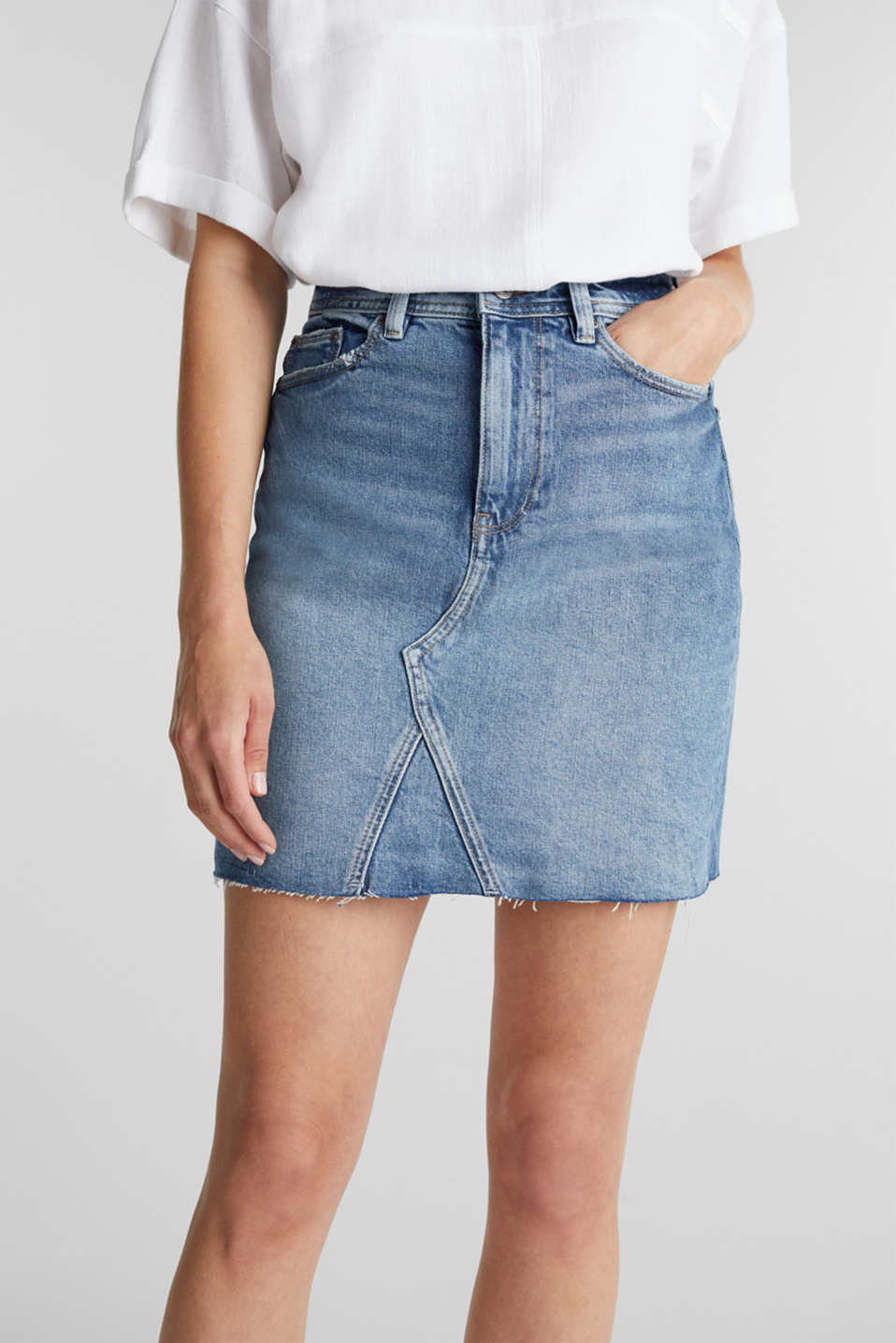 Denim skirt with organic cotton, BLUE MEDIUM WASH, detail image number 2