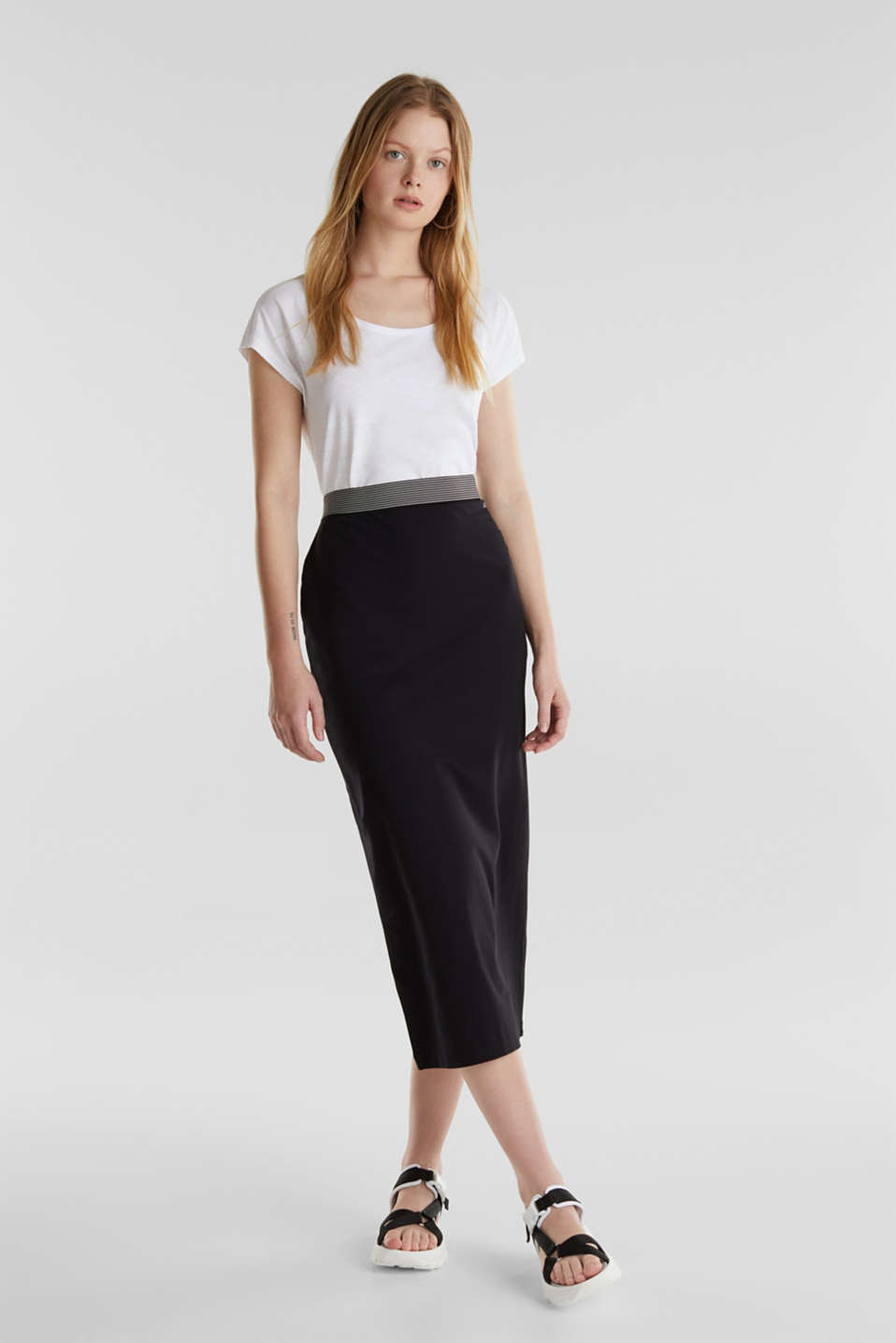 Midi skirt in stretch jersey, BLACK, detail image number 1