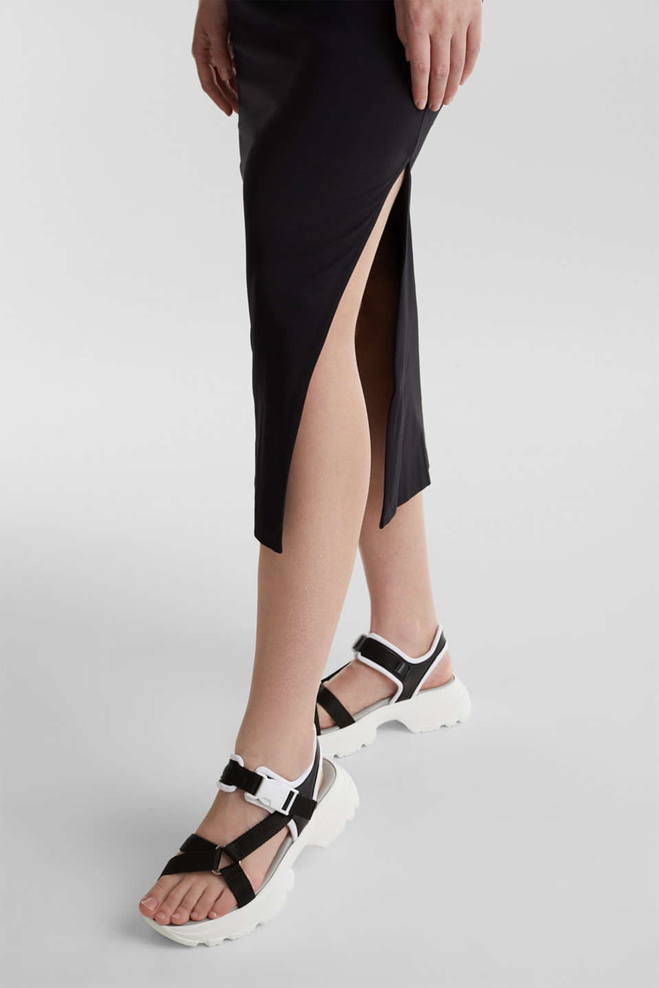 Midi skirt in stretch jersey, BLACK, detail image number 2