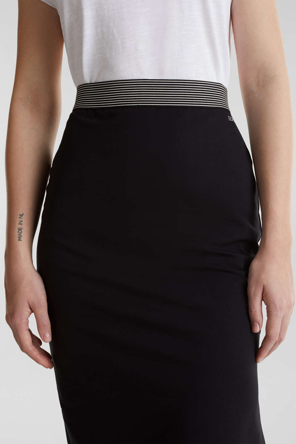 Midi skirt in stretch jersey, BLACK, detail image number 5