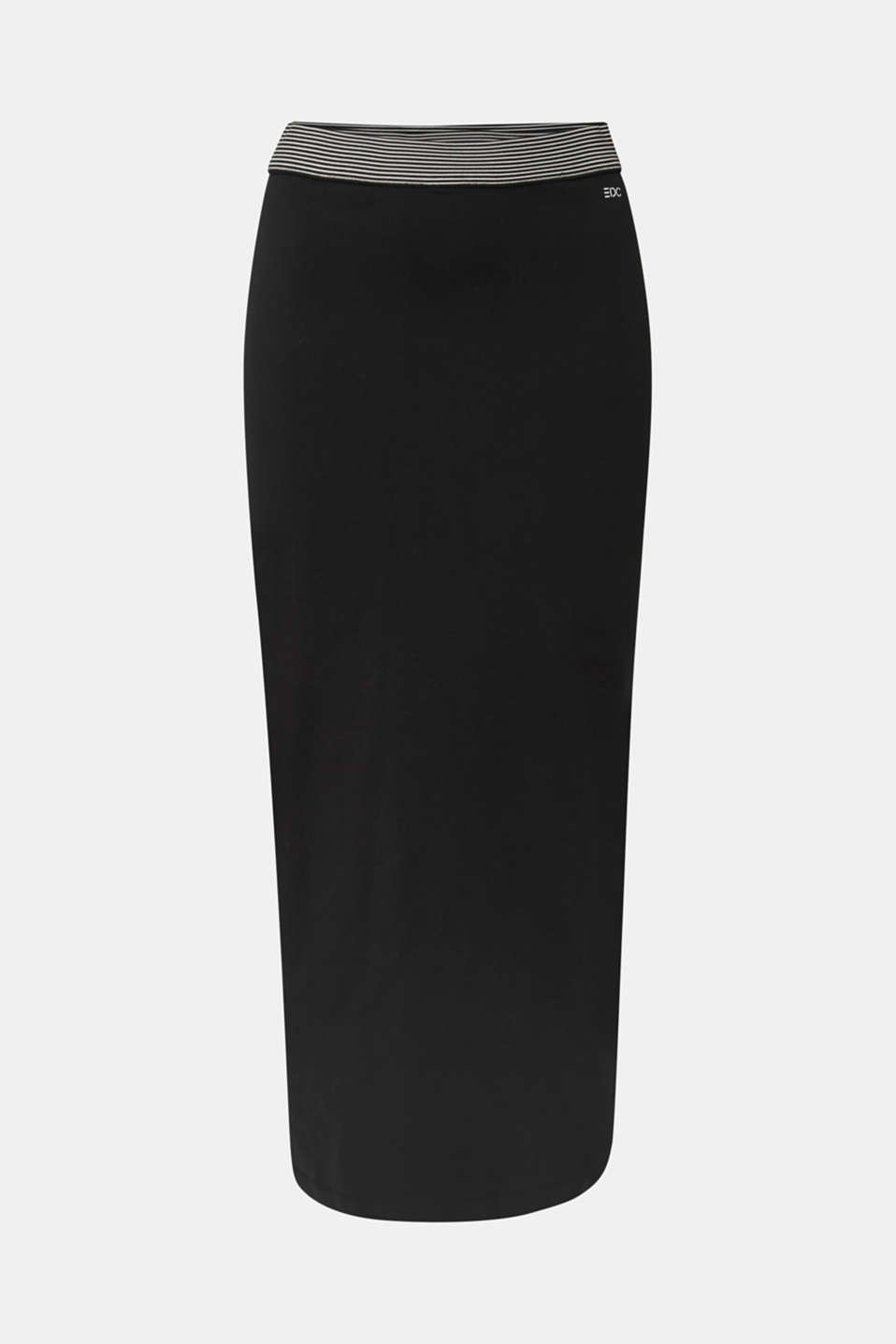 Midi skirt in stretch jersey, BLACK, detail image number 6