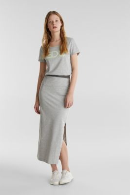 Stretch jersey skirt with organic cotton, LIGHT GREY 5, detail