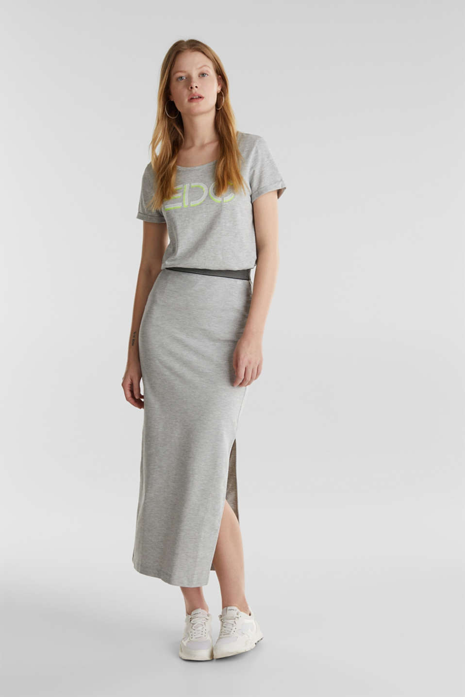 Stretch jersey skirt with organic cotton, LIGHT GREY 5, detail image number 1