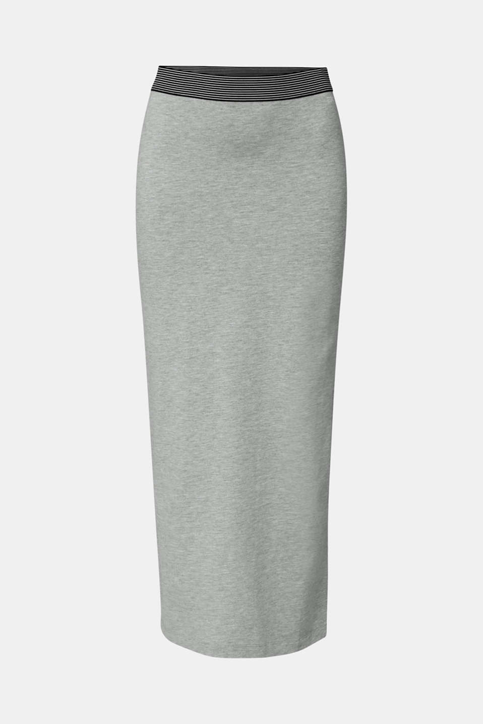 Stretch jersey skirt with organic cotton, LIGHT GREY 5, detail image number 6