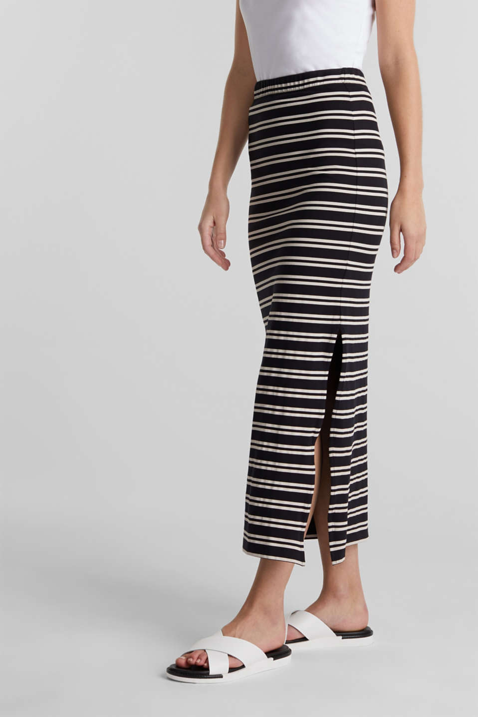 Midi skirt with slit and stripes, BLACK, detail image number 0
