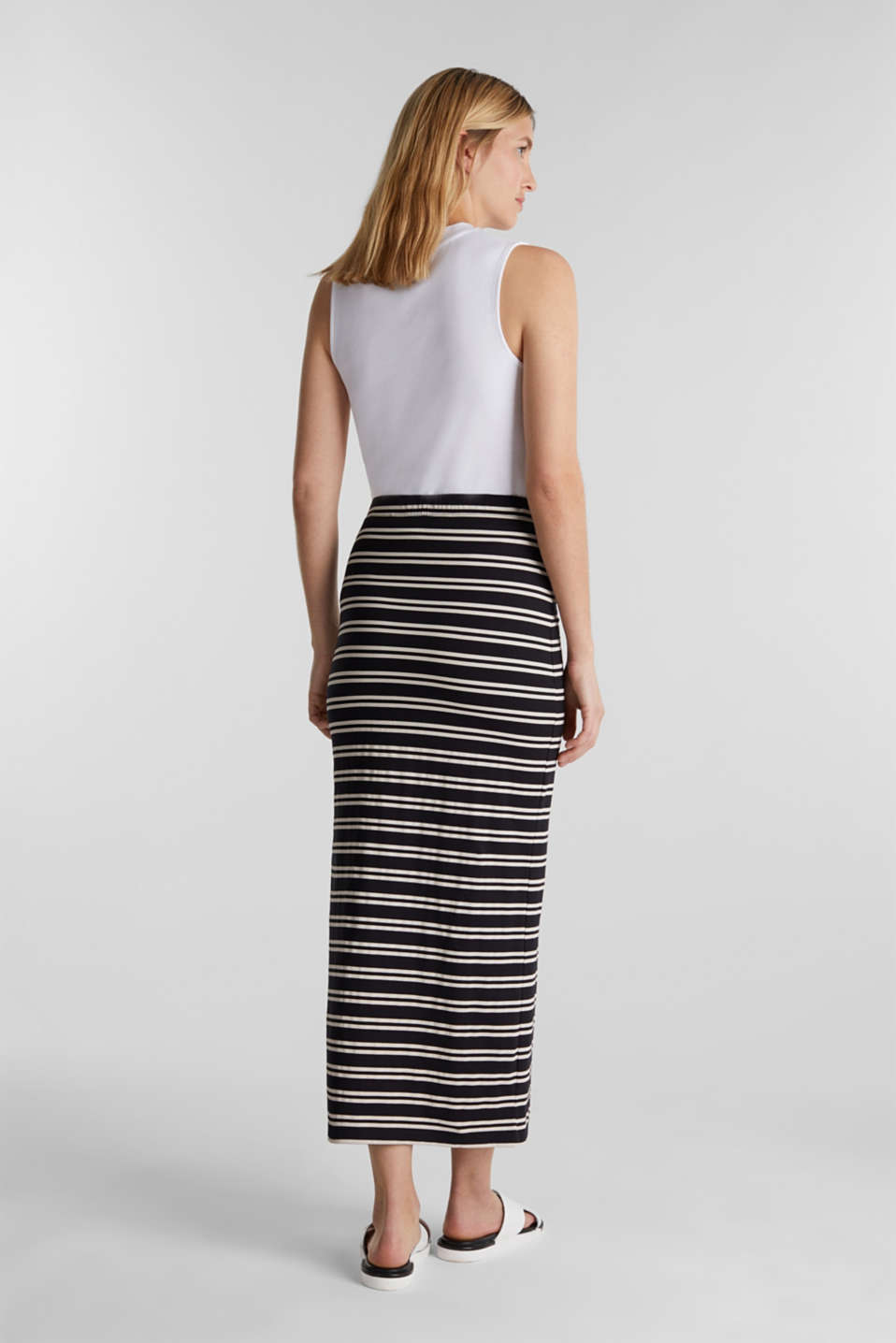 Midi skirt with slit and stripes, BLACK, detail image number 3