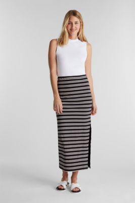 Midi skirt with slit and stripes, BLACK, detail