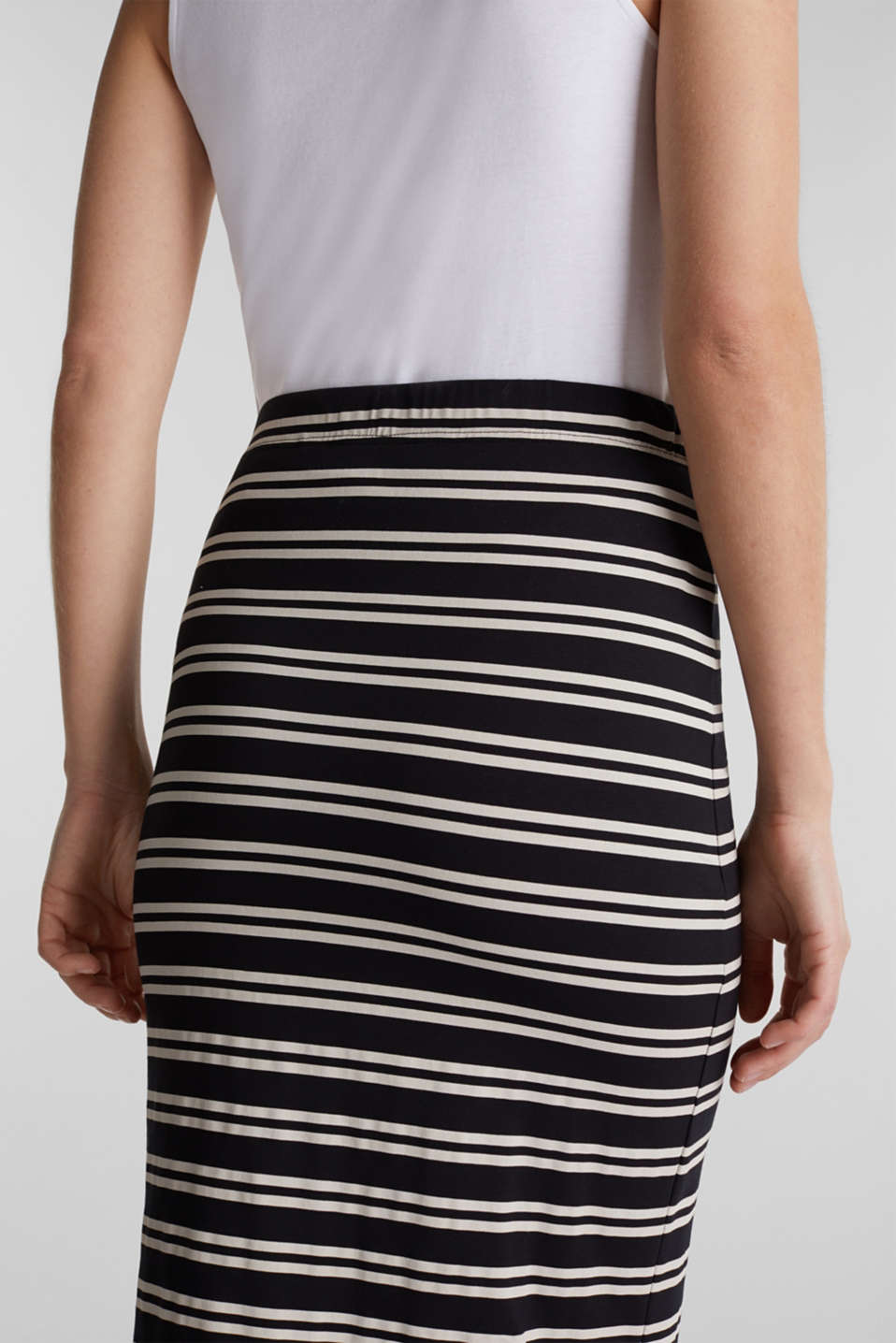 Midi skirt with slit and stripes, BLACK, detail image number 2