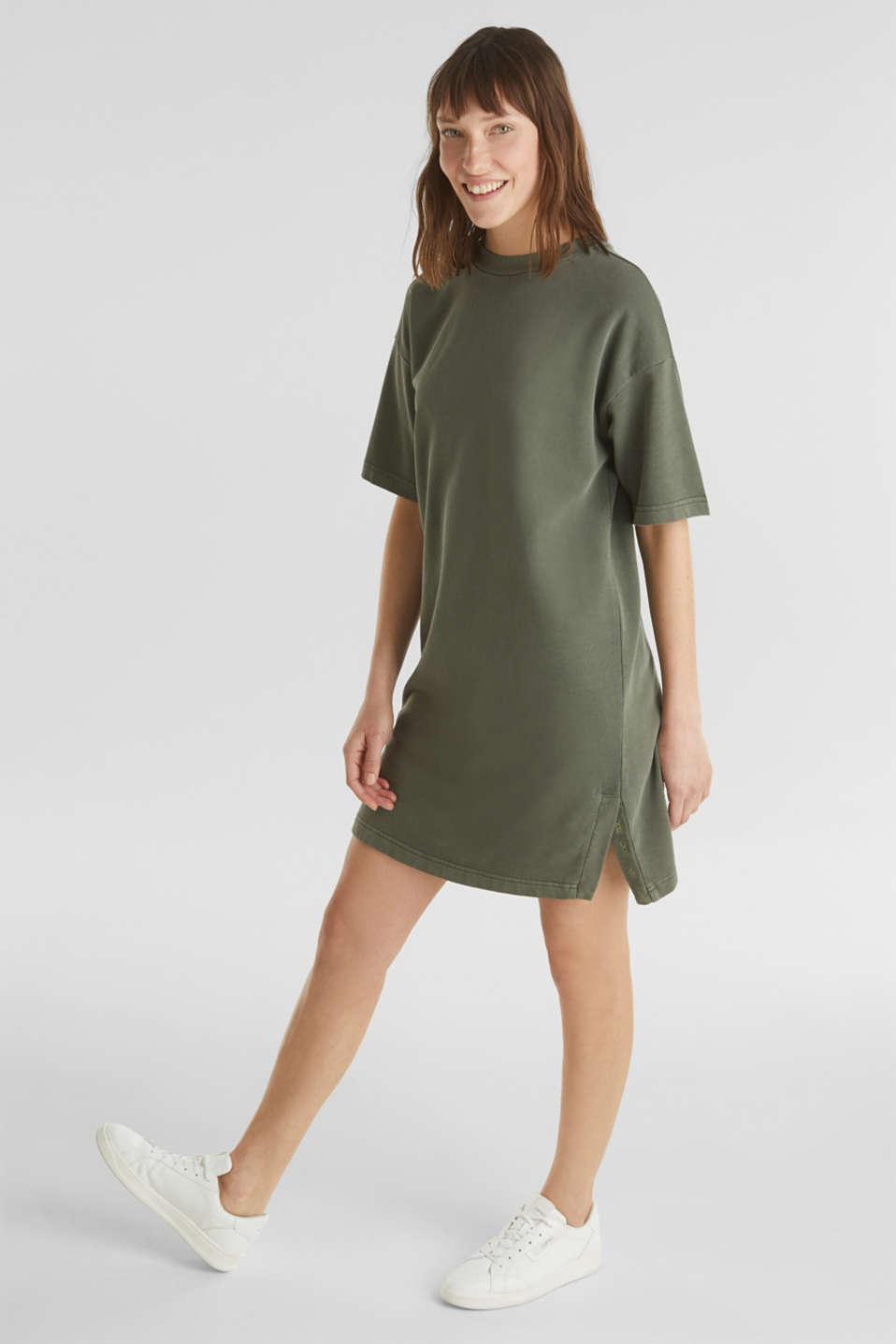 Sweatshirt dress made of 100% cotton, KHAKI GREEN, detail image number 1