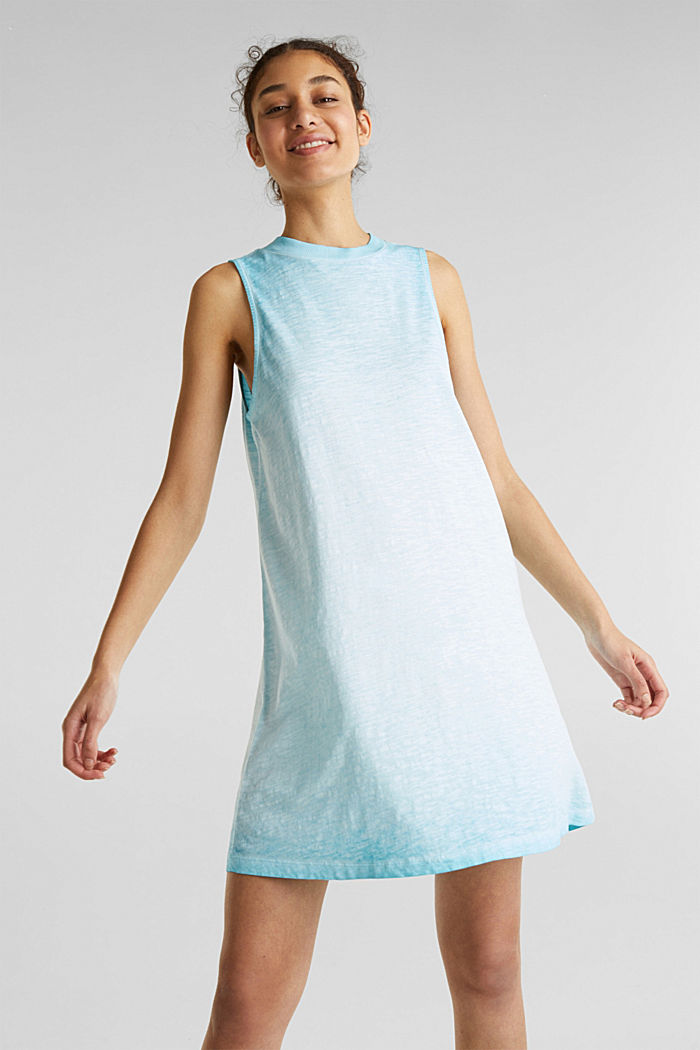 Baumwoll-Jersey-Kleid, TURQUOISE, detail image number 0