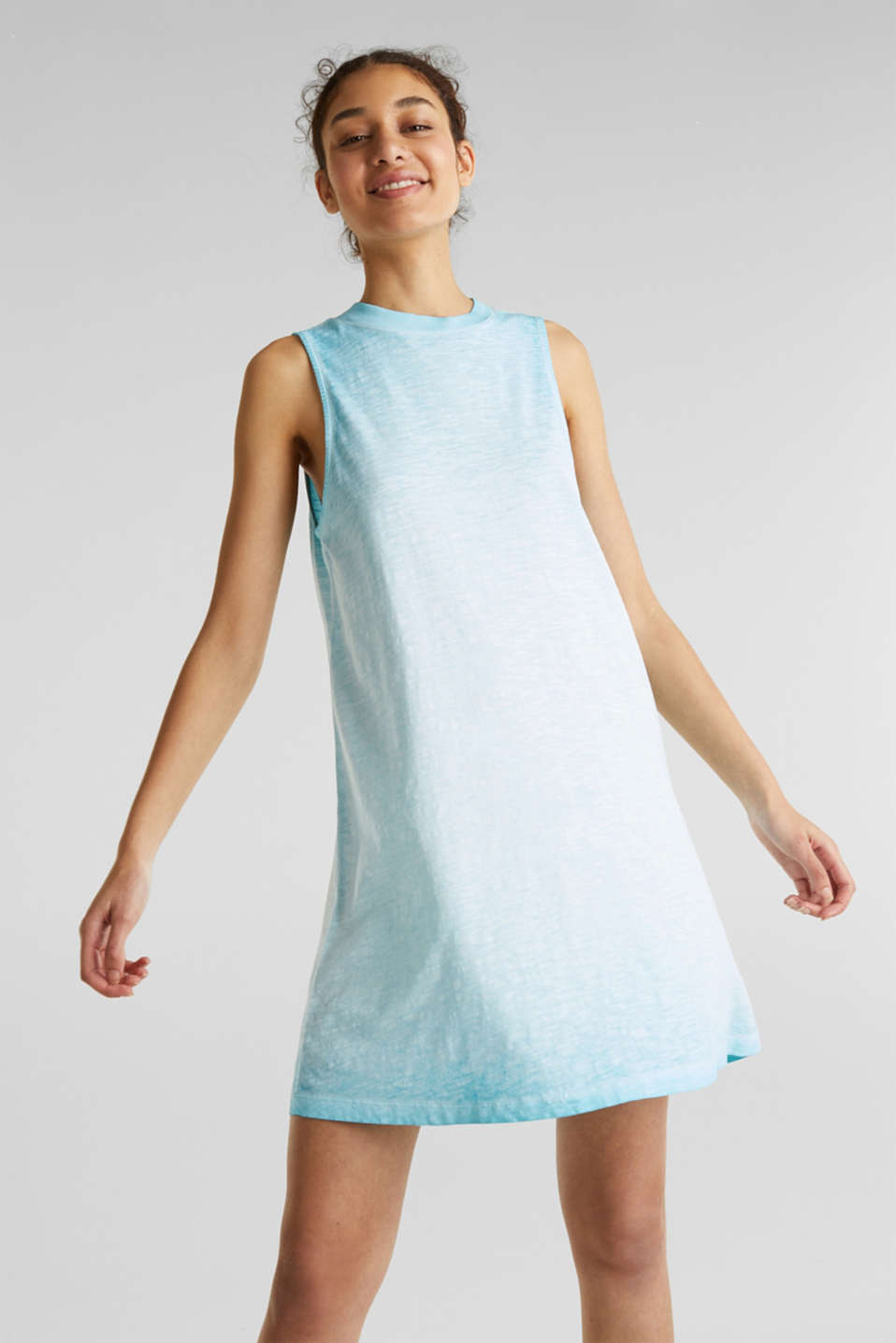 Cotton jersey dress, TURQUOISE, detail image number 0