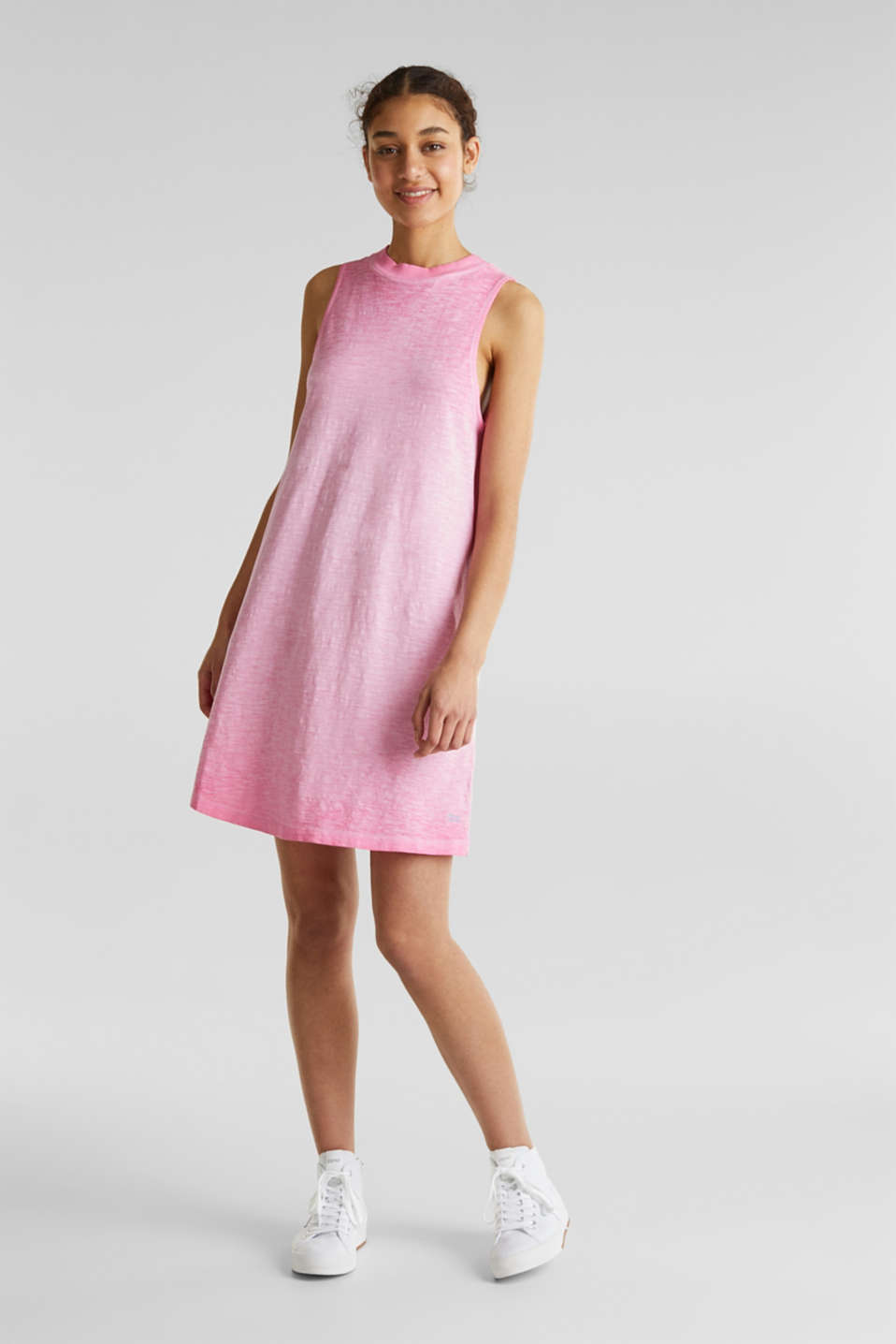 Cotton jersey dress, PINK FUCHSIA, detail