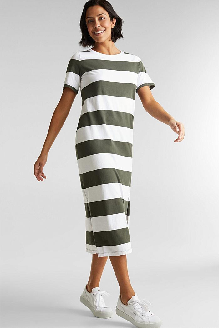 Jersey dress, 100% cotton, KHAKI GREEN, detail image number 0