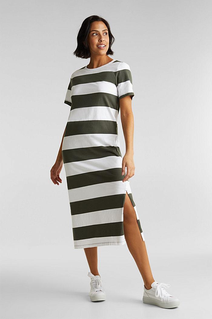 Jersey dress, 100% cotton, KHAKI GREEN, detail image number 1