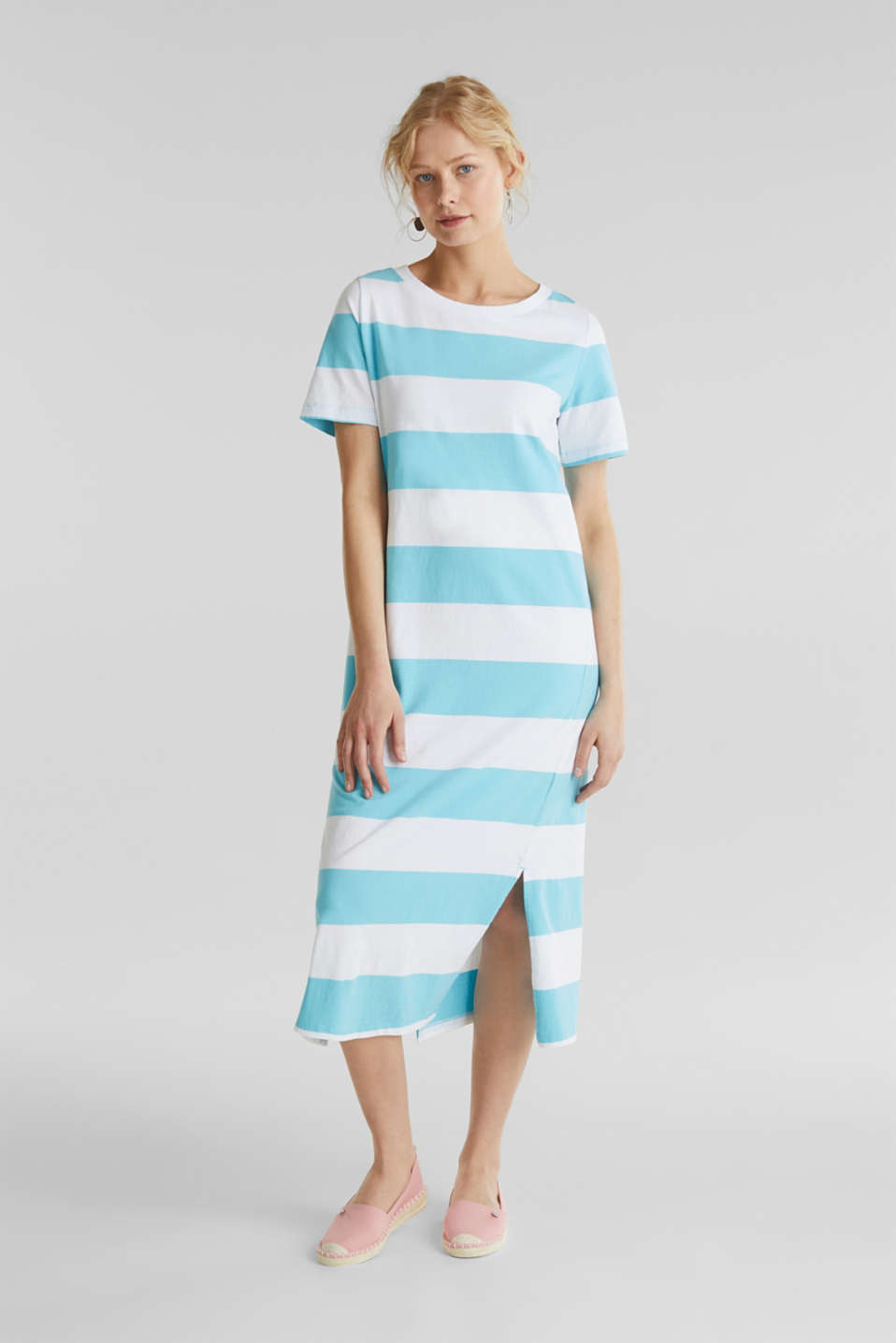 Jersey dress, 100% cotton, TURQUOISE, detail image number 0