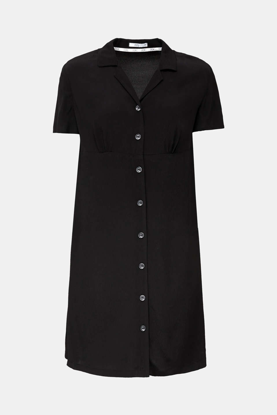 Crêpe shirt dress containing LENZING™ ECOVERO™, BLACK, detail image number 5