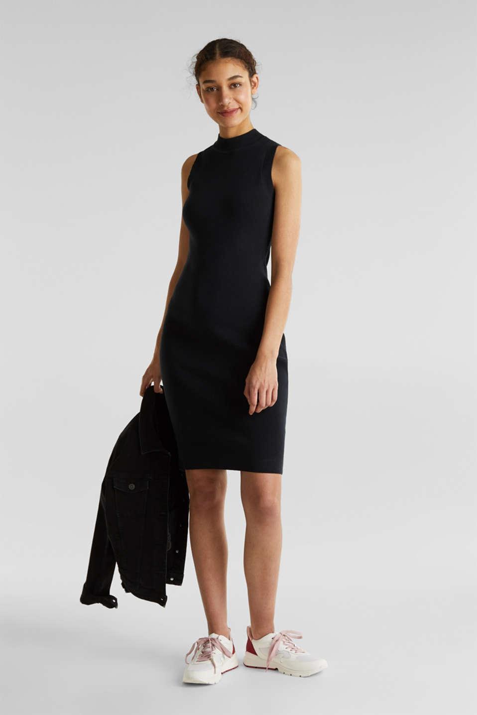 Ribbed knit dress, BLACK, detail image number 1