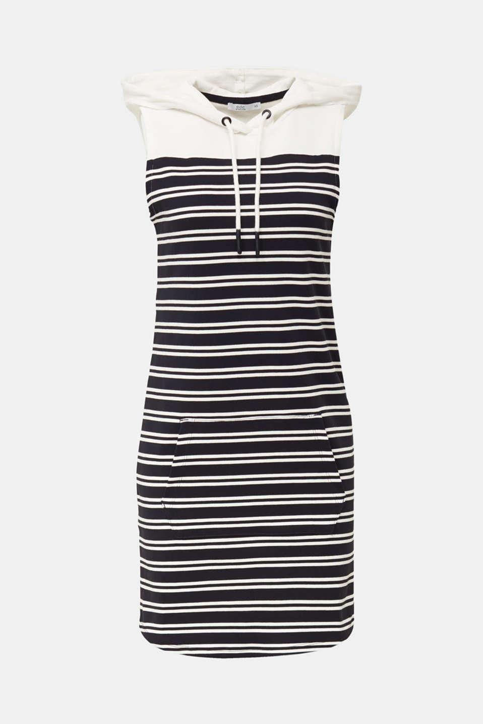 Hoodie sweatshirt dress, 100% cotton, BLACK, detail image number 7