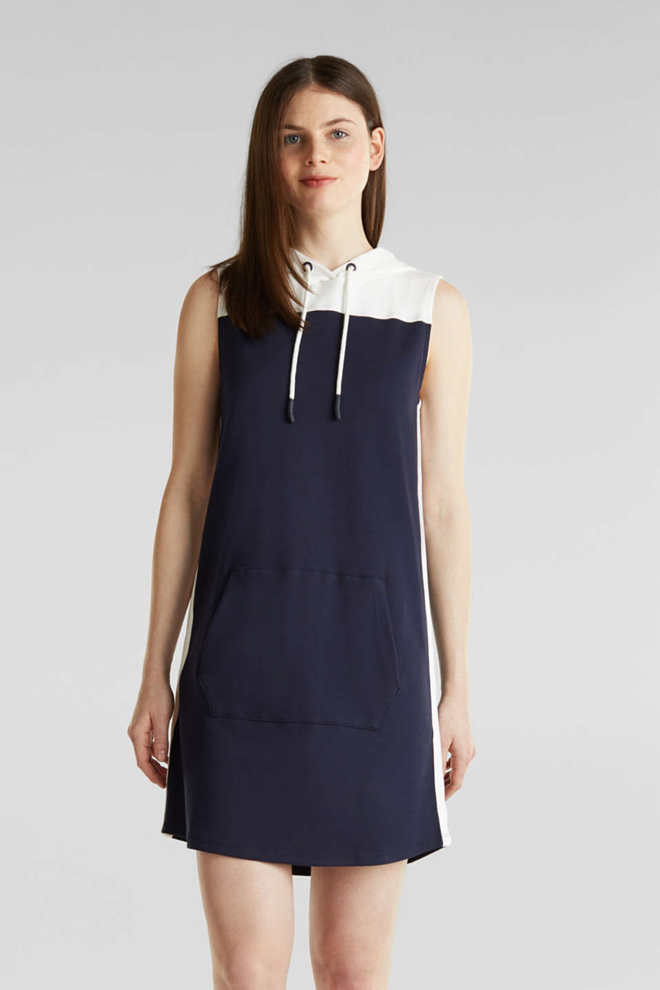 Hooded sweatshirt fabric dress, NAVY, detail image number 6