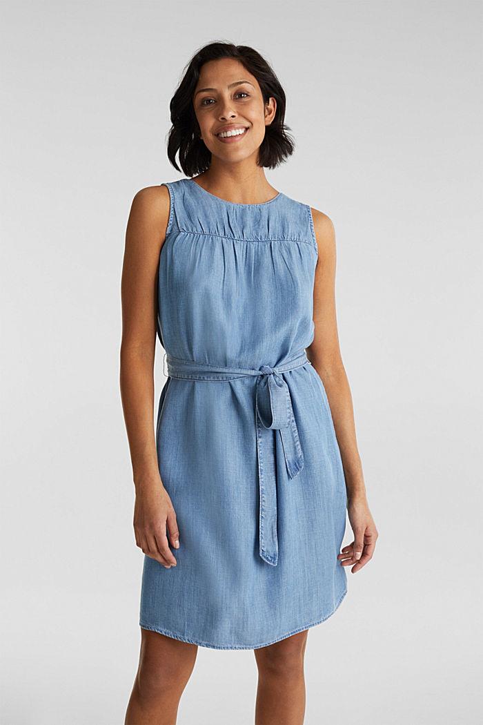 Denim-Kleid aus Lyocell, BLUE LIGHT WASHED, detail image number 0