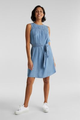 Denim dress made of lyocell, BLUE LIGHT WASH, detail