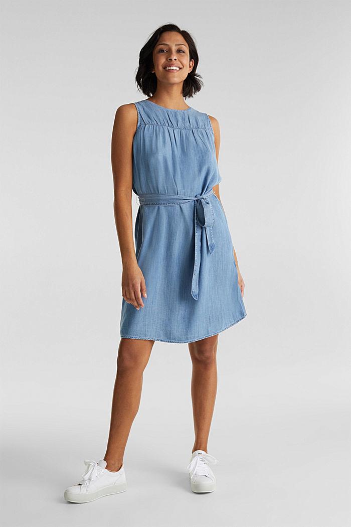 Denim-Kleid aus Lyocell, BLUE LIGHT WASHED, detail image number 1