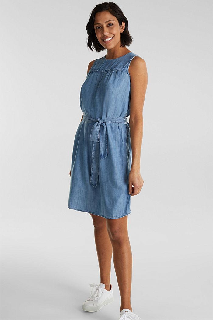 Denim-Kleid aus Lyocell, BLUE LIGHT WASHED, detail image number 6