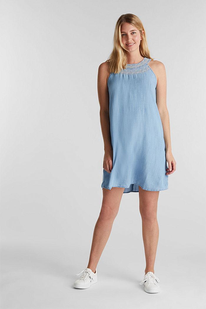Denim-Kleid aus 100% Lyocell, BLUE LIGHT WASHED, detail image number 1