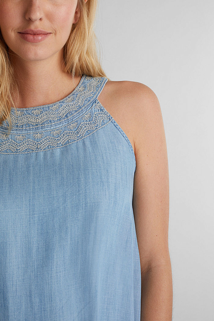Denim-Kleid aus 100% Lyocell, BLUE LIGHT WASHED, detail image number 3