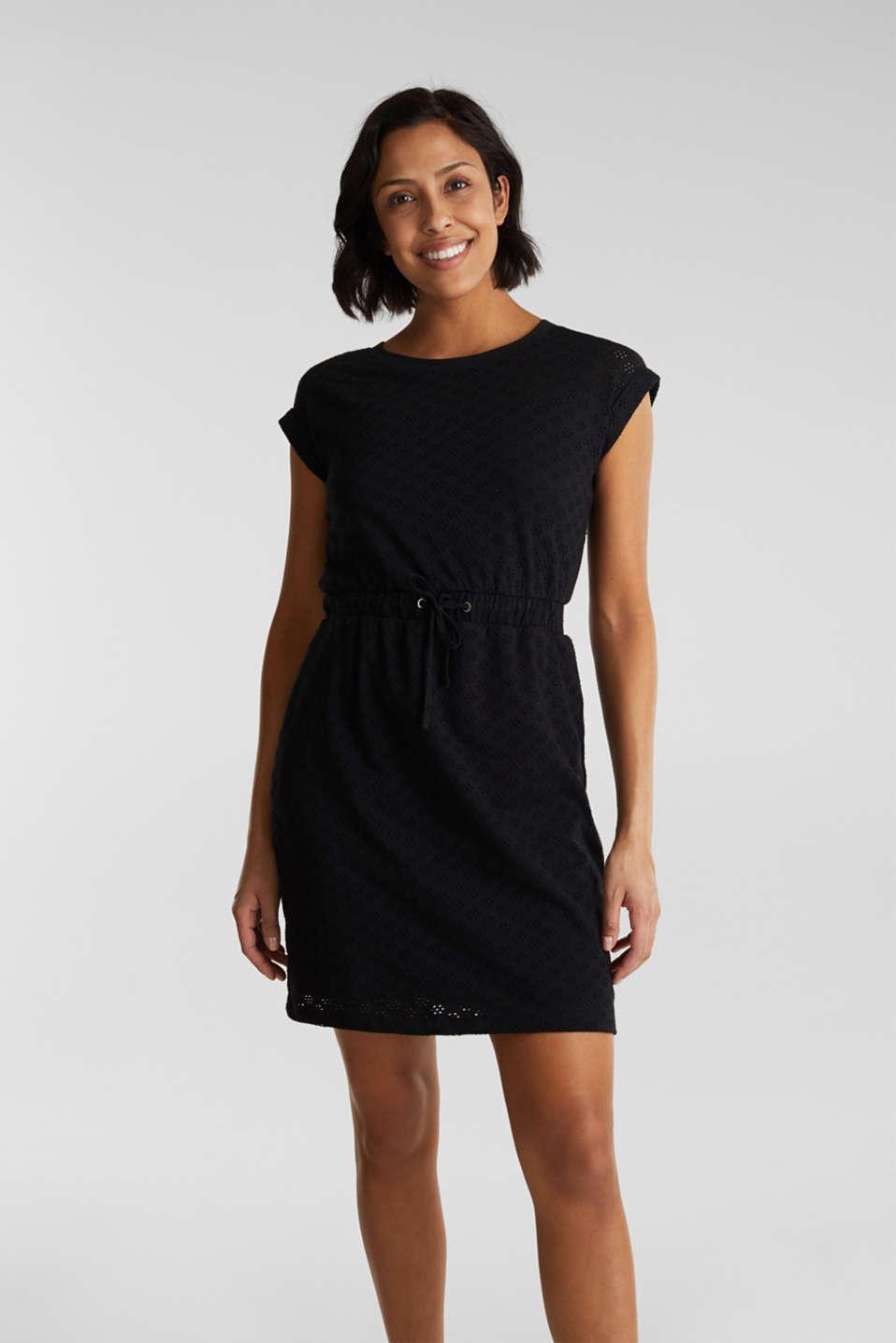 Jersey pointelle dress, BLACK, detail image number 0