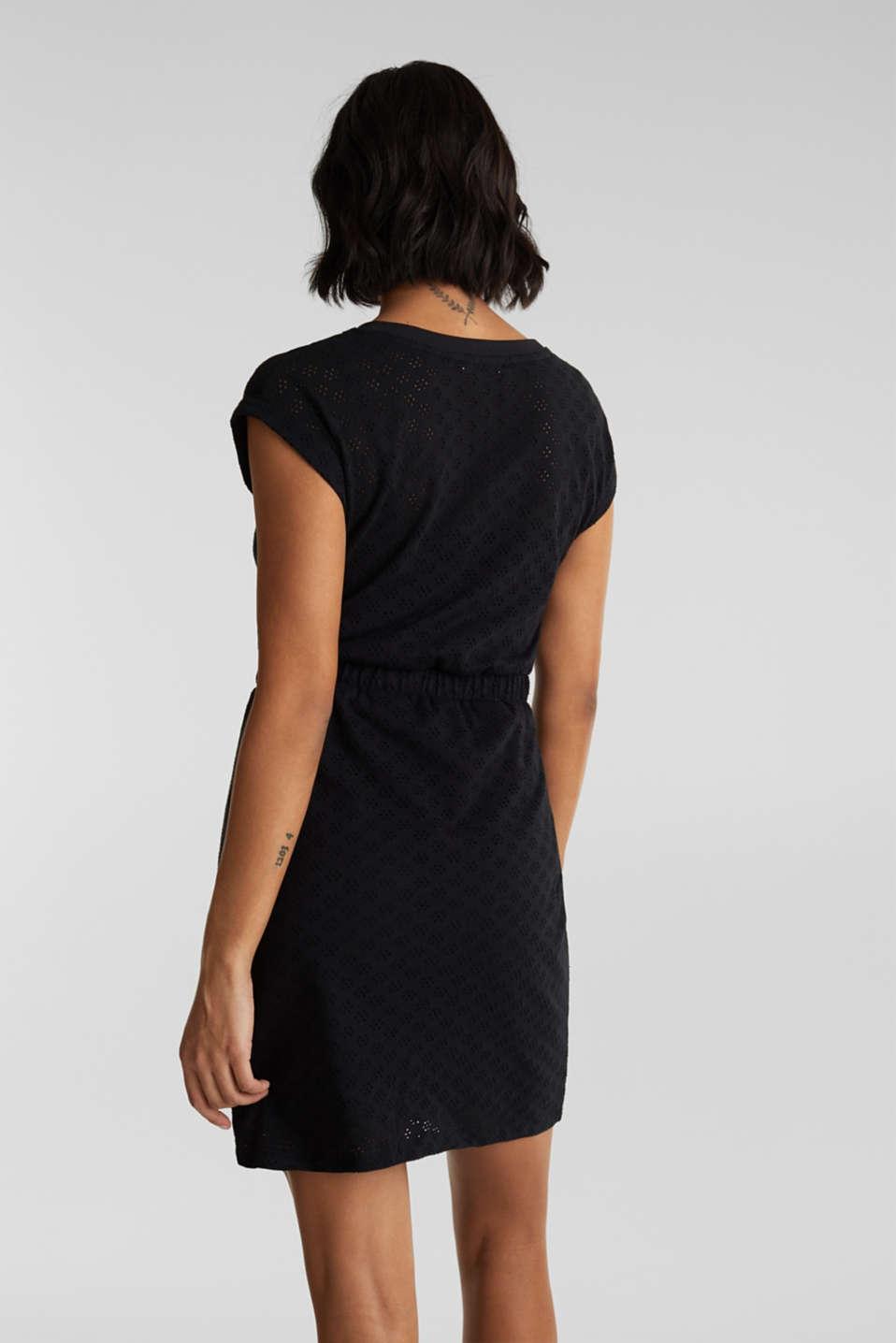 Jersey pointelle dress, BLACK, detail image number 2