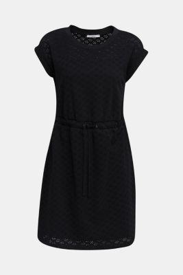 Jersey pointelle dress, BLACK, detail