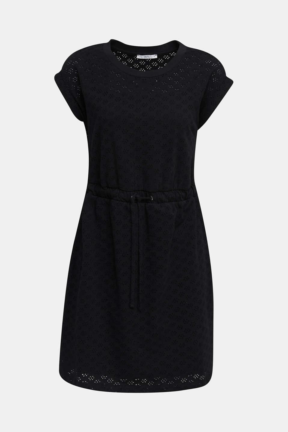 Jersey pointelle dress, BLACK, detail image number 6