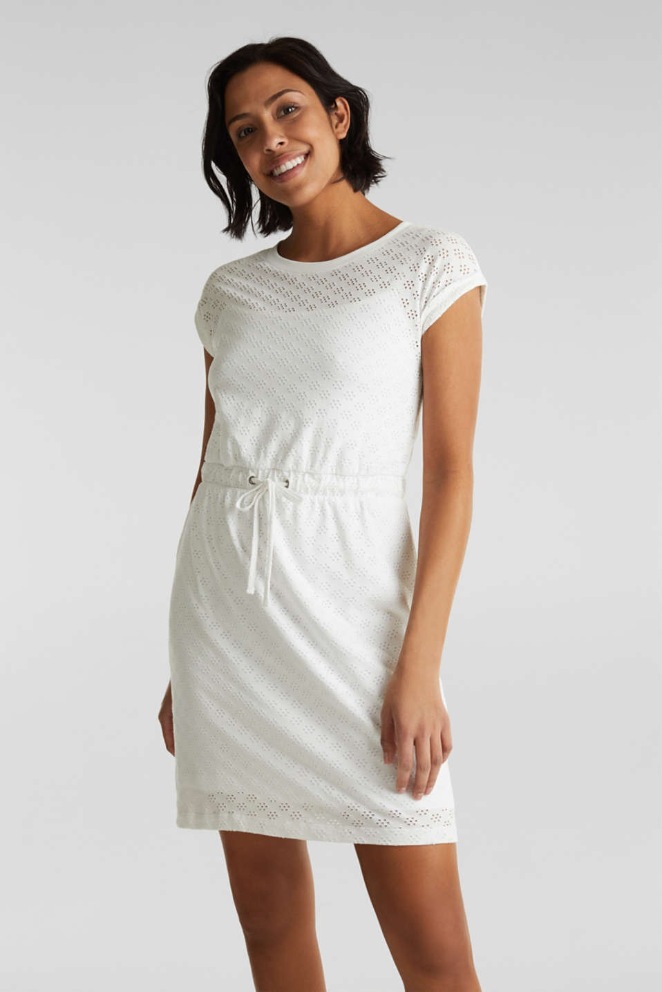 Jersey pointelle dress, WHITE, detail image number 0