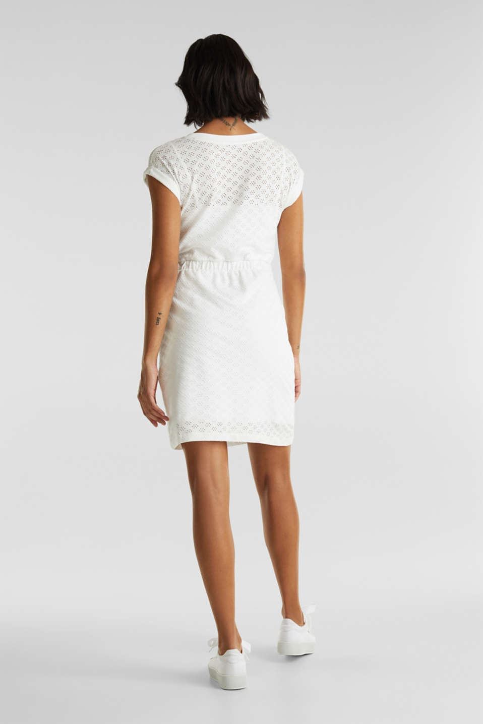 Jersey pointelle dress, WHITE, detail image number 2