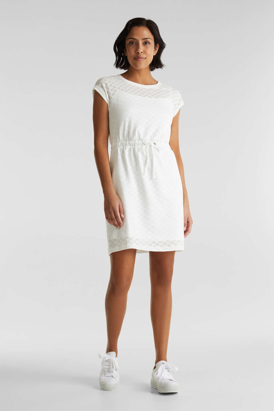 Jersey pointelle dress, WHITE, detail image number 1