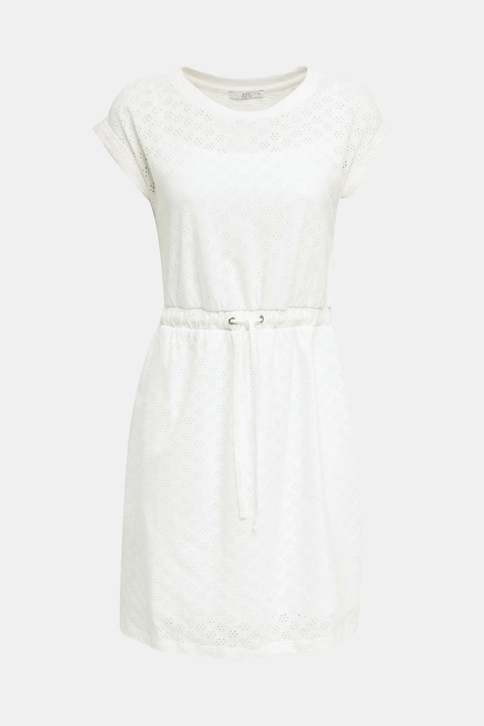 Jersey pointelle dress, WHITE, detail image number 6