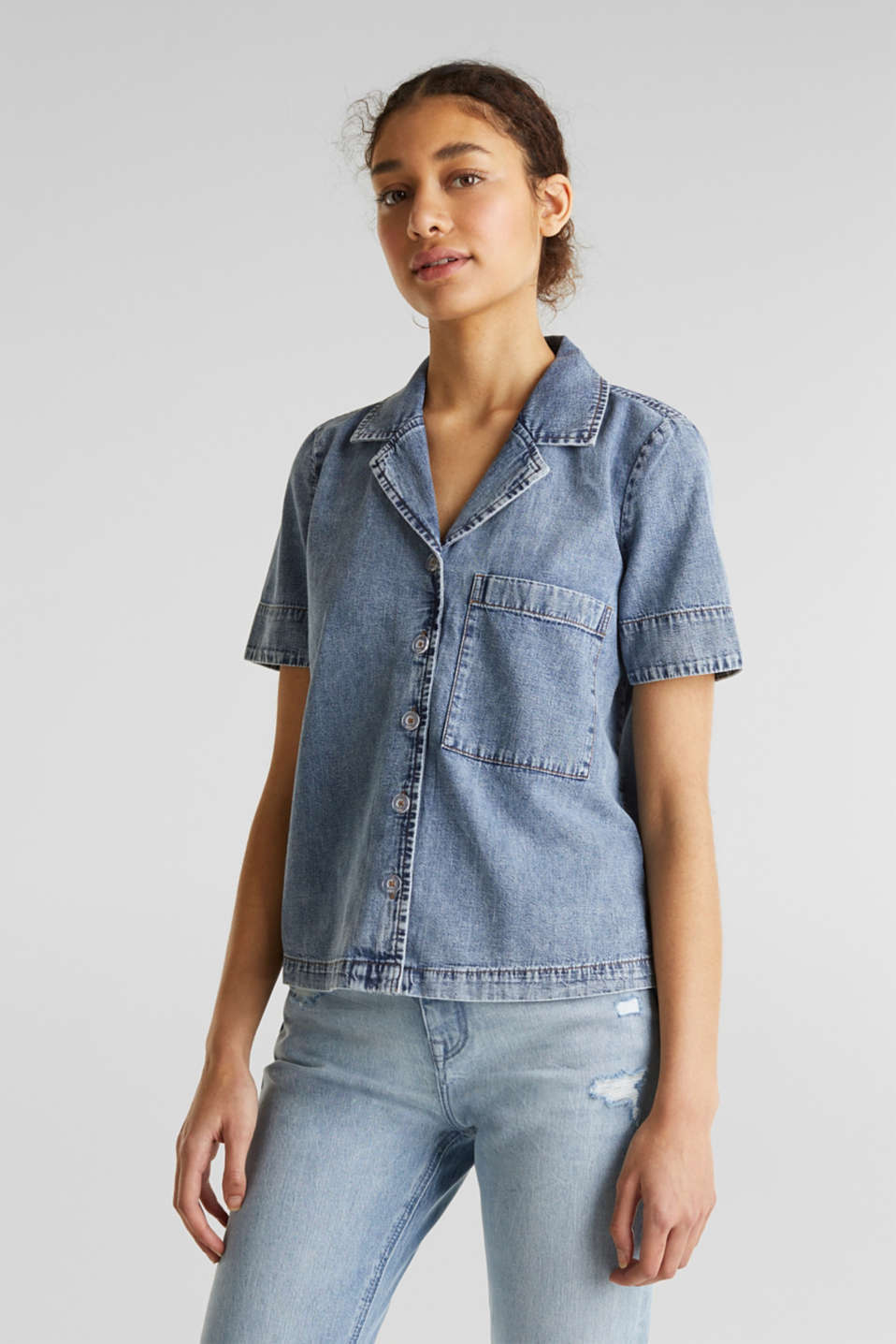 edc - Denim blouse with a lapel collar
